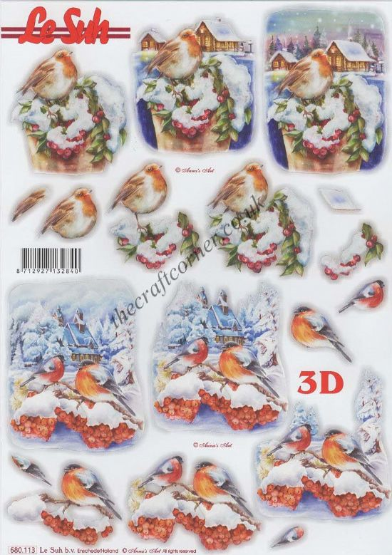 Robin Birds In The Snow Die Cut 3d Decoupage Sheet